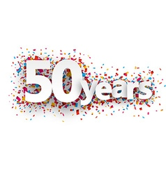 Fifty years paper confetti sign vector