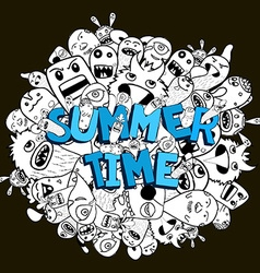 Hello summer doodle hipster background vector image