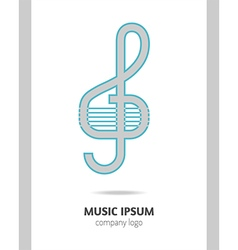 Musical logo treble clef vector