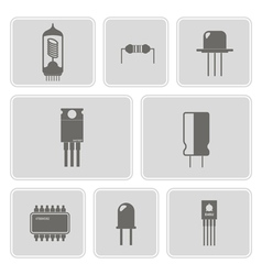 Monochrome icon set with electronic components vector
