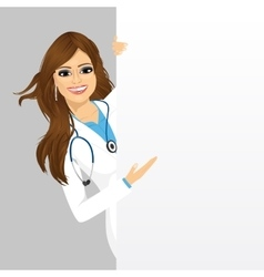 Female doctor with a blank presentation board vector