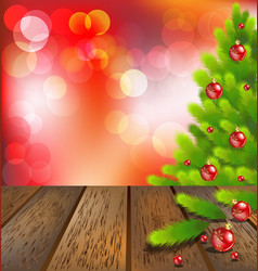 Wooden floor with christmas tree on red bokeh vector