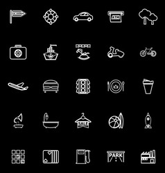 Map place line icons on black background vector