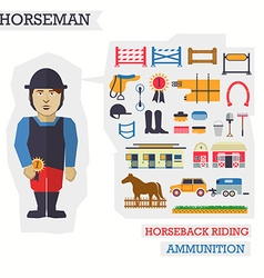 Set of elements for horseback riding with horseman vector