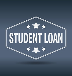 Student loan hexagonal white vintage retro style vector