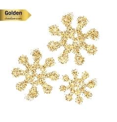 Gold glitter icon of virus isolated on vector