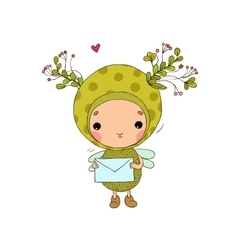 Forest Fairy and heart on a white background vector image