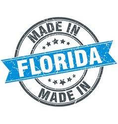 Made in florida blue round vintage stamp vector