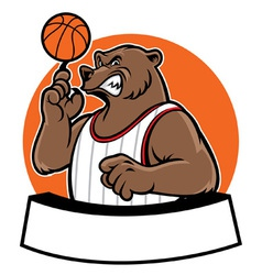 bear school basketball mascot vector image