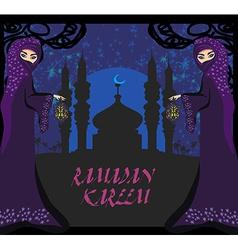 beautiful muslim women on mosque background vector image vector image