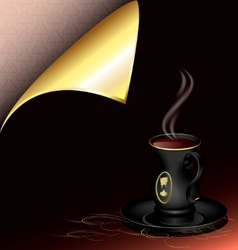 black cup and golden corner vector image vector image