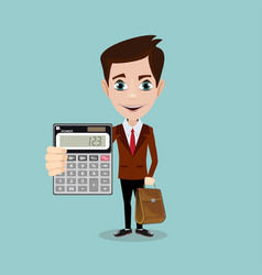 cartoon businessman or accountant is showing vector image