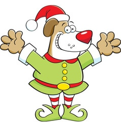 Cartoon dog wearing an elf costume vector image