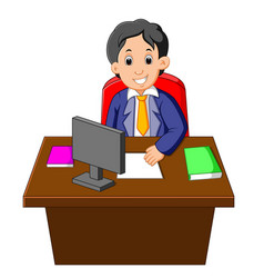 cartoon of businessman at his desk vector image