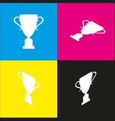Champions cup sign white icon with vector