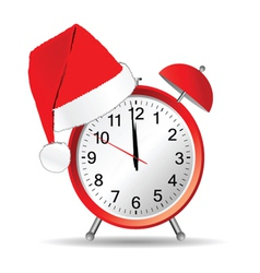 Clock with red christmas hat vector
