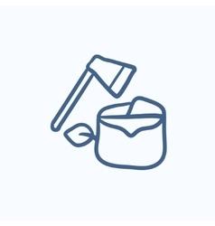 Deforestation sketch icon vector image vector image