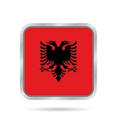 Flag of albania shiny metallic gray square button vector