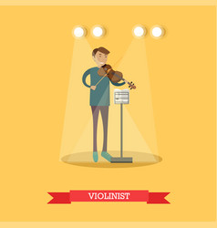 flat of violinist performing vector image vector image