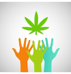 Hands Reaching for a marijuana leaf vector image