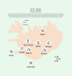 iceland map with thin line icons vector image