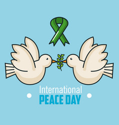 International peace day two dove flying and branch vector