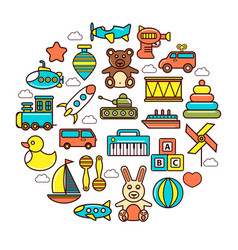 kids colorful plastic and soft toys in circle vector image vector image