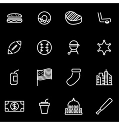 Line usa icon set vector