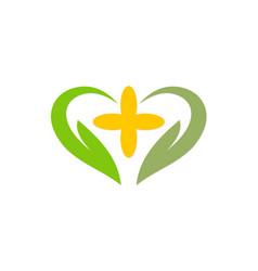 love abstract green ecology logo vector image vector image