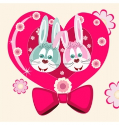 lovely rabbits vector image vector image