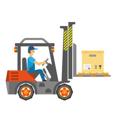 Male worker driving service vehicle with carton vector