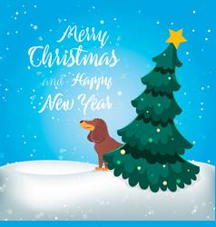 merry christmas funny cartoon dog vector image