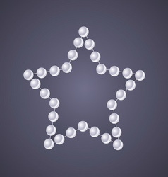 Pearl star on glow gray background vector image