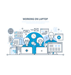 people working on laptop for business analysis vector image vector image