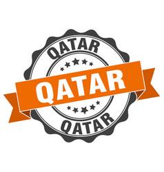 Qatar round ribbon seal vector