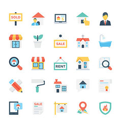 Real estate colored icons 1 vector