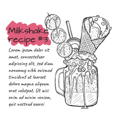 recipe of milkshake n3 smoothie with cookies ice vector image vector image