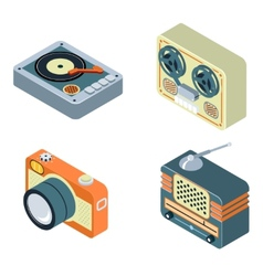 Retro media Radio reel tape recorder turntable vector image vector image