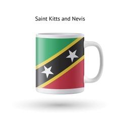 Saint kitts and nevis flag souvenir mug on white vector