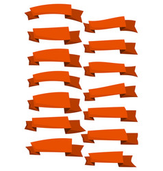 set of orange cartoon ribbons and banners vector image vector image