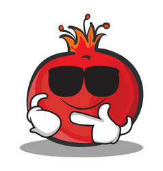 Super cool pomegranate cartoon character style vector