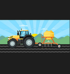 Tractor seeding crops at field in spring landscape vector