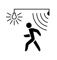 Walking man silhouette with lamp and sensor waves vector image vector image