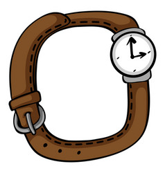 Wristwatch with brown band vector