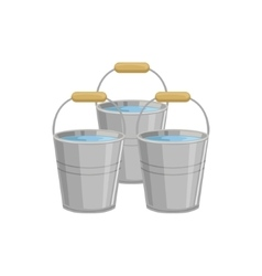 Three metal buckets with water vector
