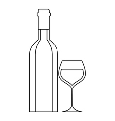 Wine bottle and wine glass icon outline style vector