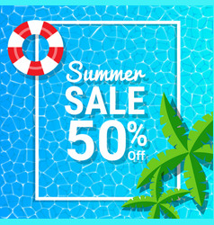 Water waves and 50 off for summer sale discounts vector