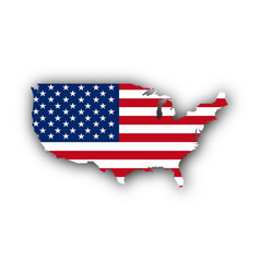 Map and flag of the usa vector