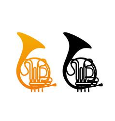 golden french horn vector image