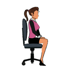 Character woman business sitting office chair vector